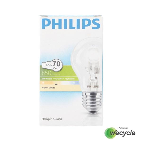 Philips Halogen Classic halogeenlamp E27/53W (70W) voorkant