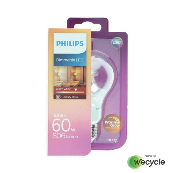 Philips LED lamp E27/8,5W (60W) voorkant