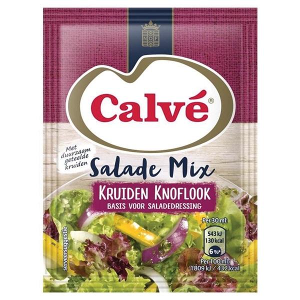 Calvé salademix kruiden en knoflook voorkant