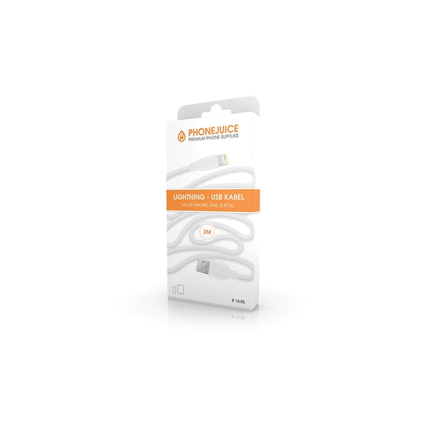 Phonejuice USB kabel 3 meter wit voorkant