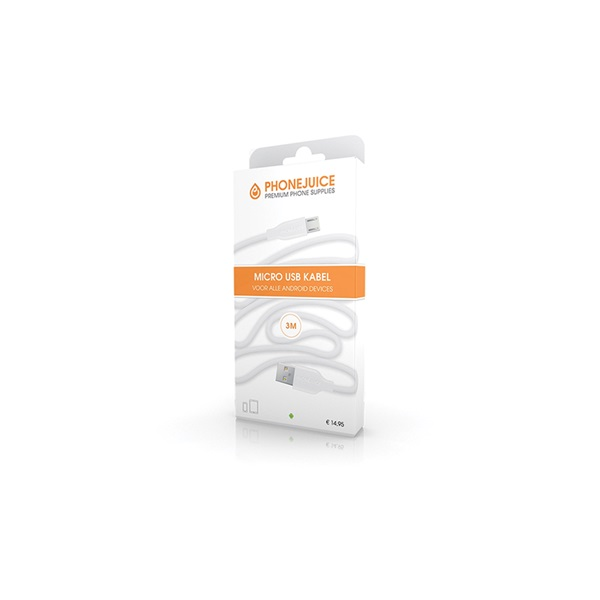 Phonejuice Micro-USB kabel 3 meter wit voorkant