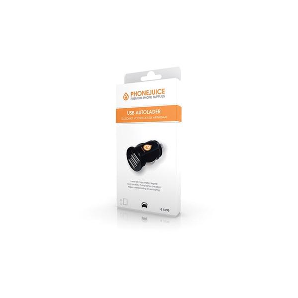 Phonejuice autolader 12v - 2A dubbele USB voorkant