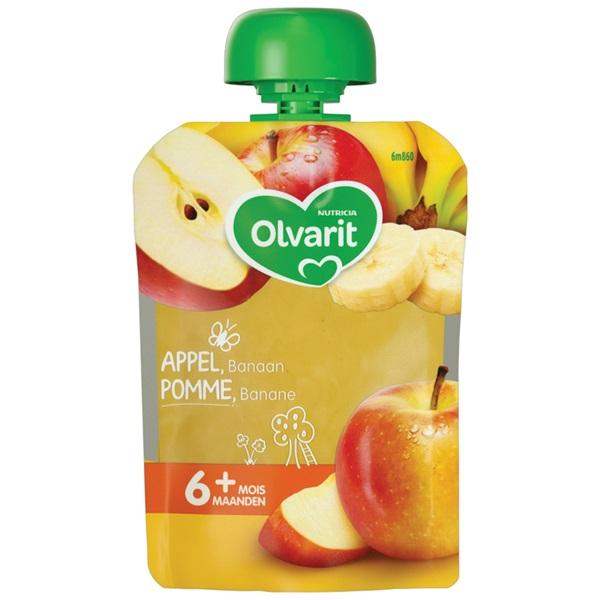 Olvarit fruithapje met appel en banaan voorkant