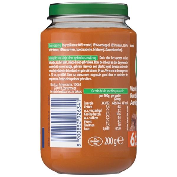 Olvarit baby/peuter maaltijd wortel, rundvlees en aardappel achterkant