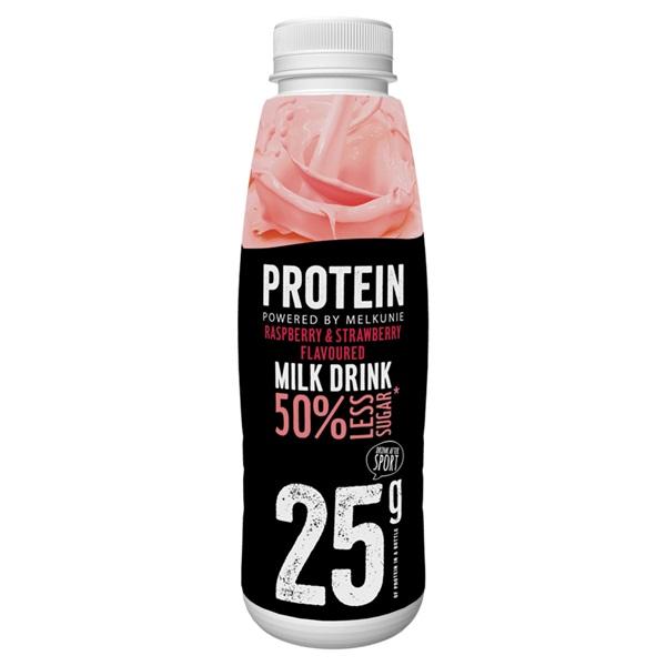 Melkunie protein melk drank framboos & aardbei voorkant