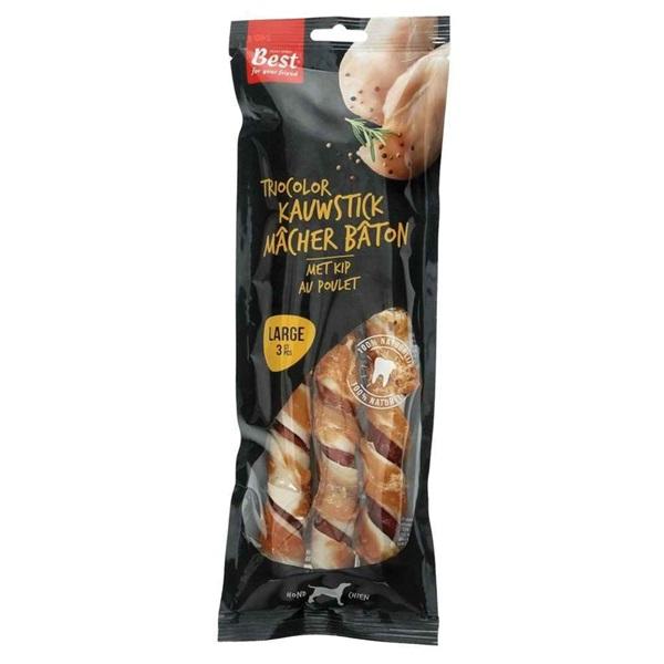 Best for your Friend trio color kauwstick met kip large voorkant