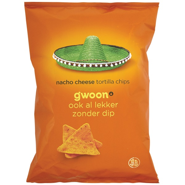 Gwoon tortilla chips nacho cheese voorkant