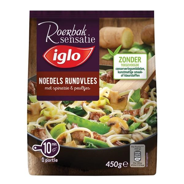 Iglo roerbak sensatie noodles met rundvlees voorkant
