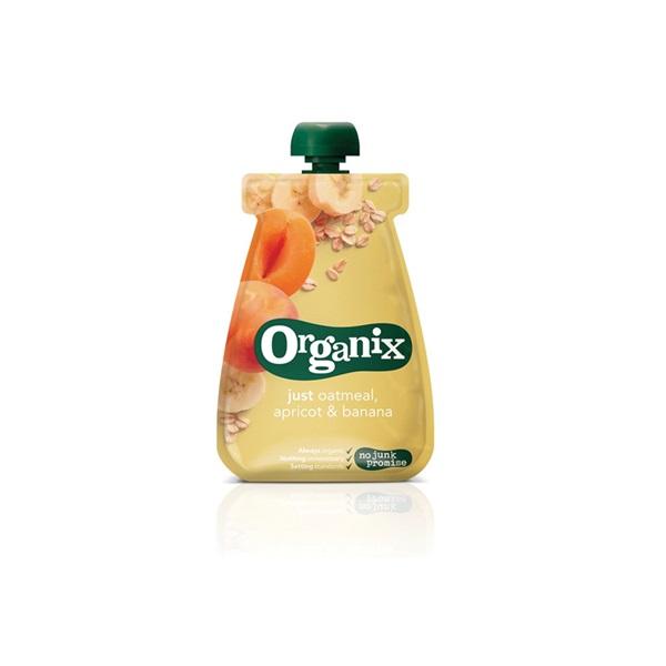 Organix just oatmeal fruithapje abrikoos en banaan voorkant