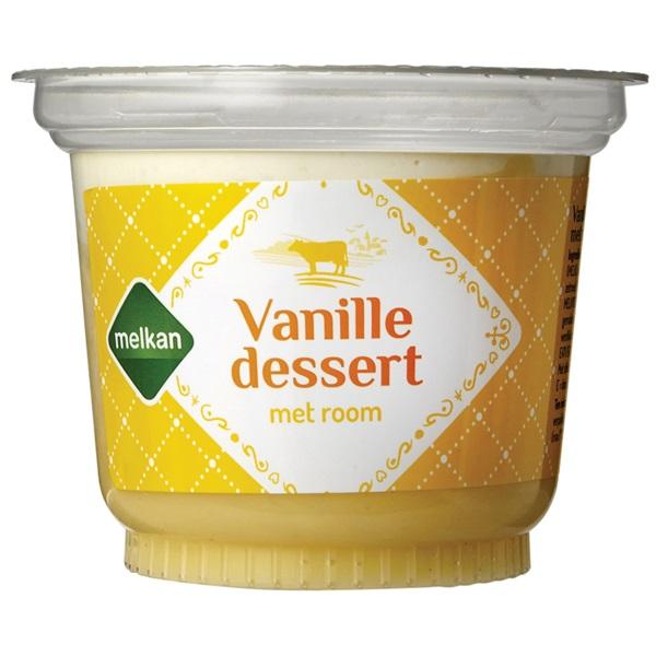 Melkan vanille dessert vanille voorkant