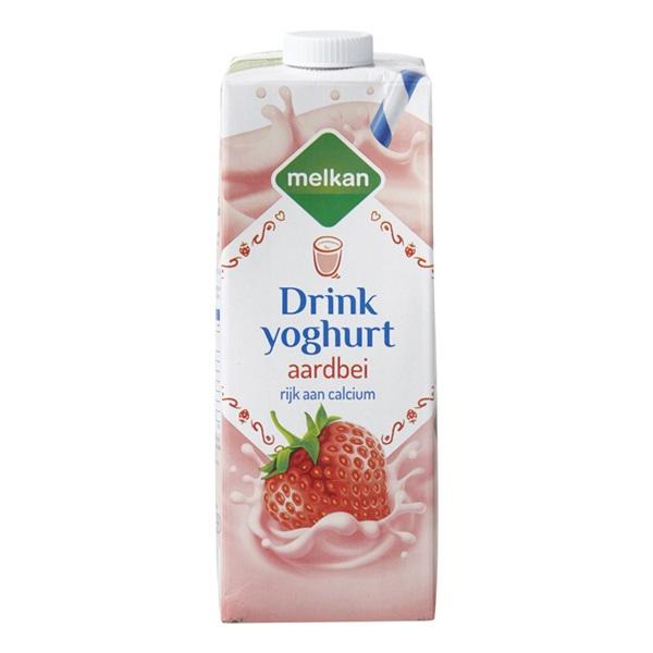 Melkan drinkyoghurt aardbei voorkant