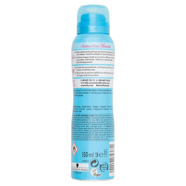 Fa summer times deodorant cucumber water & freesia scent achterkant