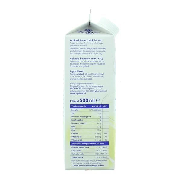 Optimel Drinkyoghurt Limoen achterkant
