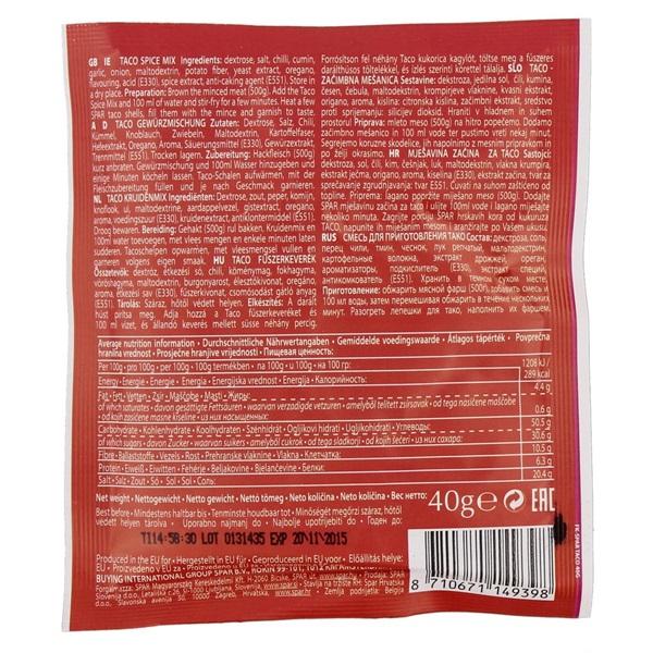 Spar Kruidenmix Taco'S achterkant