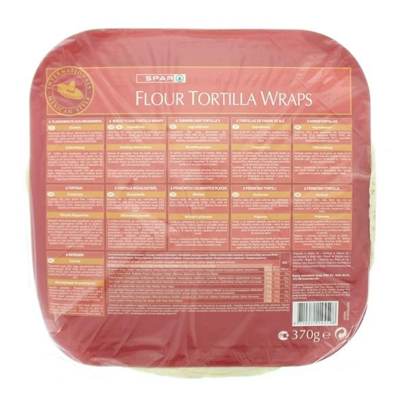 Spar Wraps Flour Tortilla achterkant