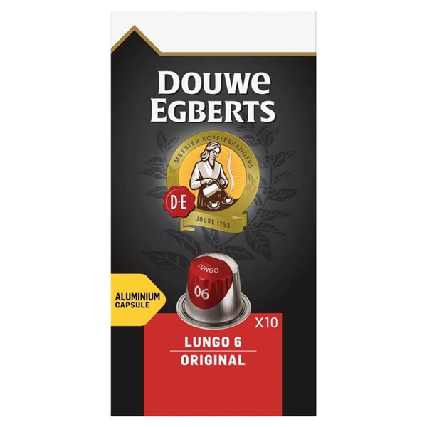 Douwe Egberts Aroma Rood Koffiecapsules Lungo Orignal voorkant