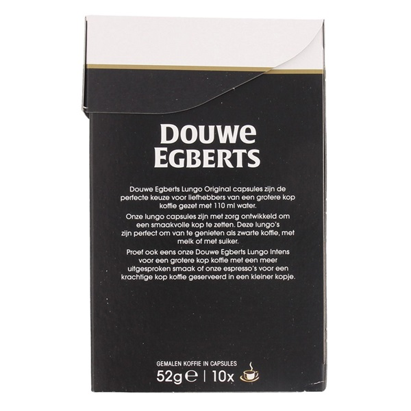 Douwe Egberts Aroma Rood Koffiecapsules Lungo Orignal achterkant