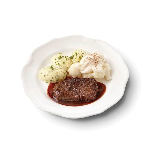Culivers (21) sucadelapje met jus, bloemkool à la crème en aardappelpuree met bieslook voorkant