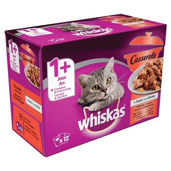 Whiskas adult casserole kattenvoer selectie van gevogelte en vlees in gelei achterkant
