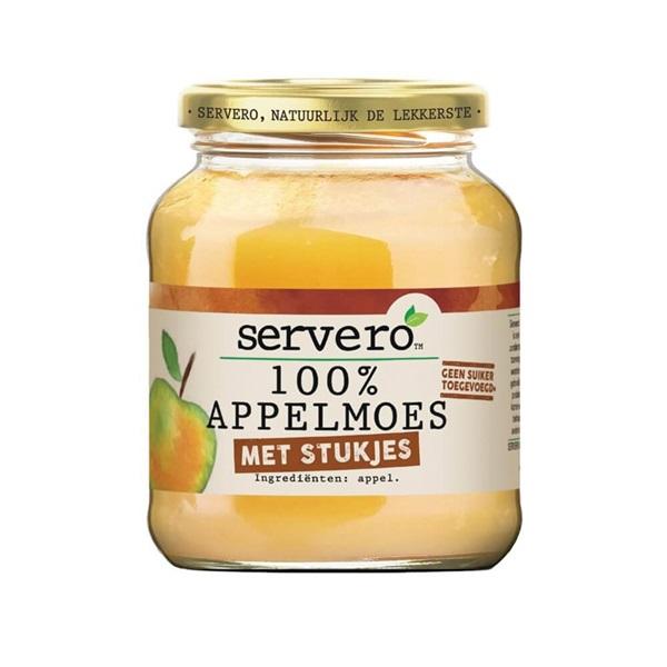Servero 100% appelmoes met stukjes natuurlijk de lekkerste voorkant