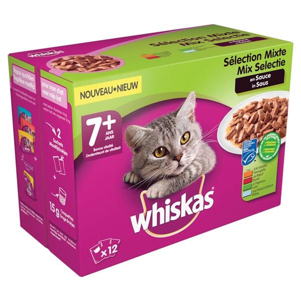 Whiskas kattenvoer senior mix in saus  achterkant