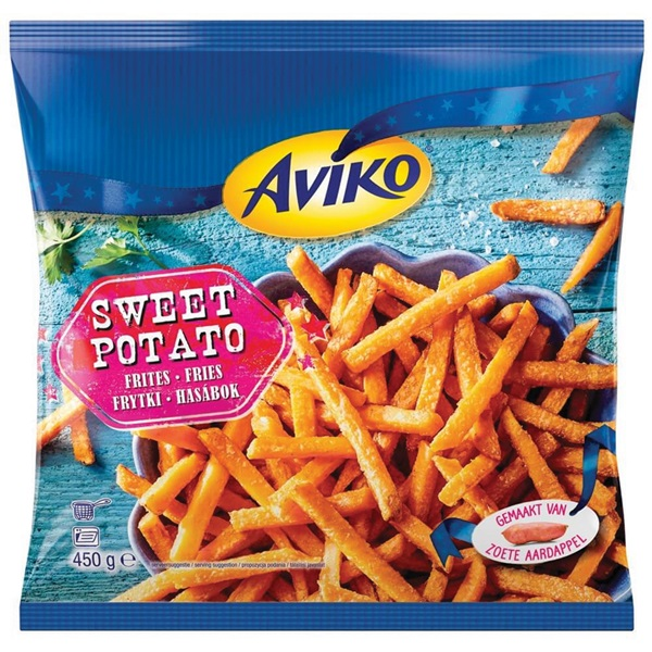 Aviko zoete aardappel frites voorkant