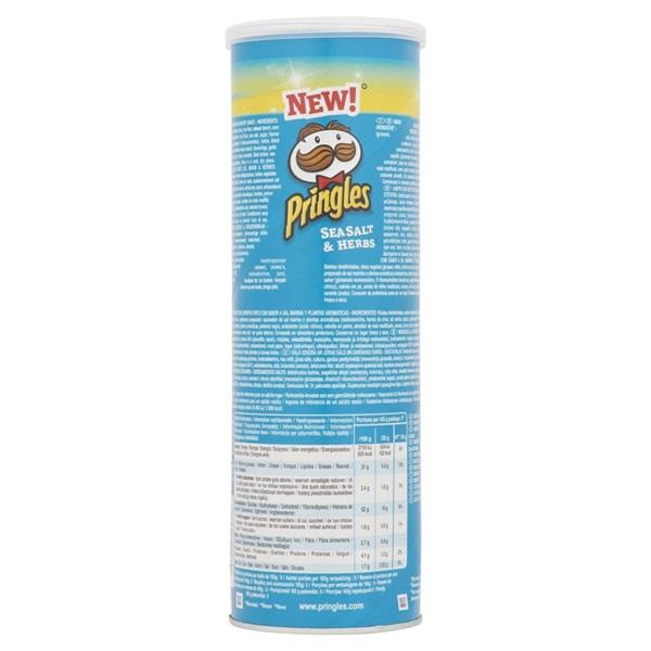 Pringles chips sea salt & herbs achterkant