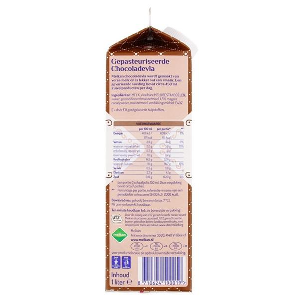 Melkan Vla Chocolade achterkant