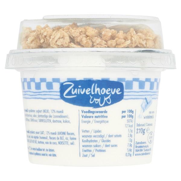 Zuivelhoeve Yoghurt Muesli Naturel achterkant