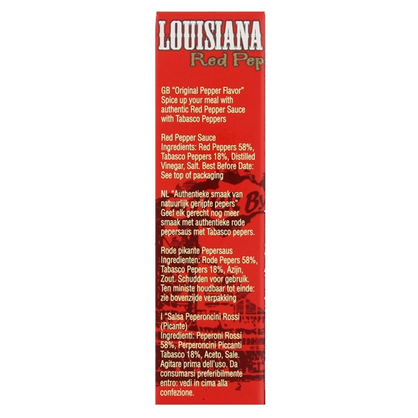 Louisiana Tabasco Gold Red Pepper achterkant