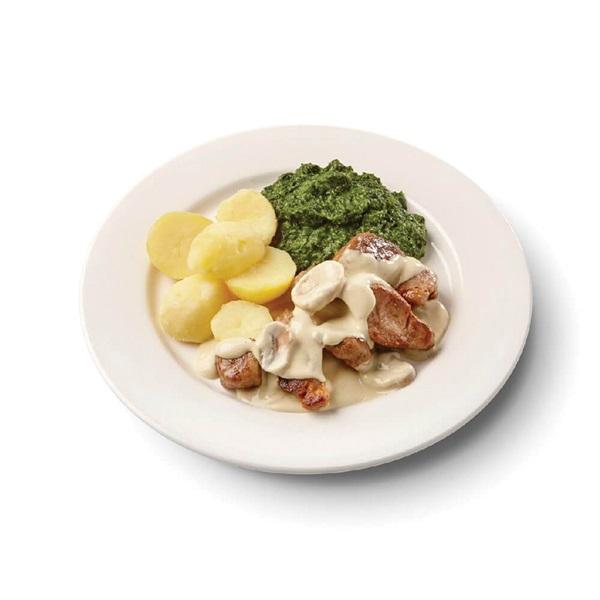 Culivers (113) varkenshaasstukjes in champignonsaus met spinazie à la crème en gekookte aardappelen voorkant
