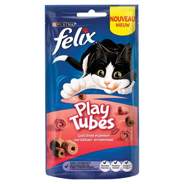 Felix kattenvoer Play Tubes kalkoen en ham voorkant