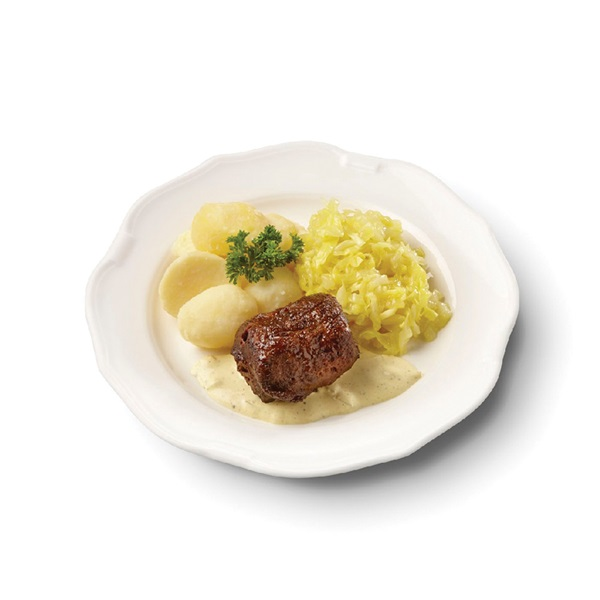 Culivers (8) rundervink met mosterdsaus, gestoofde spitskool en gekookte aardappelen voorkant