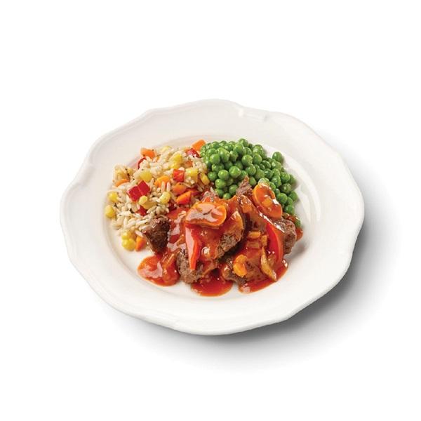 Culivers (12) Hongaarse goulash met doperwten en zilvervliesrijst-groenteschotel voorkant