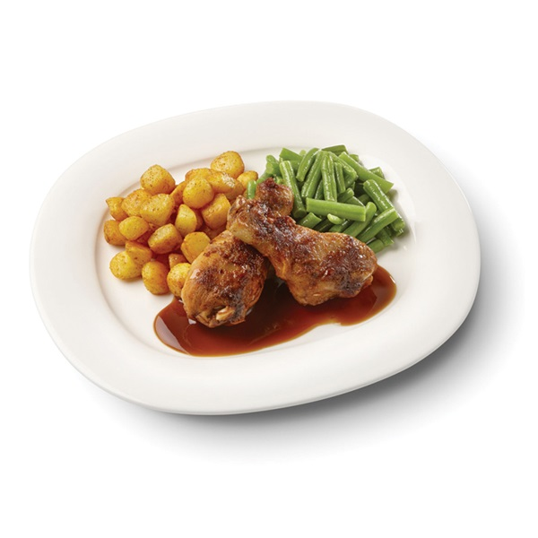 Culivers (28) drumsticks in kippenjus met sperziebonen en gebakken aardappeltjes voorkant