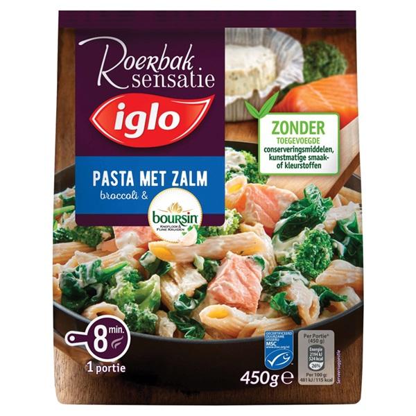 Iglo roerbaksensatie  pasta met zalm & boursin voorkant
