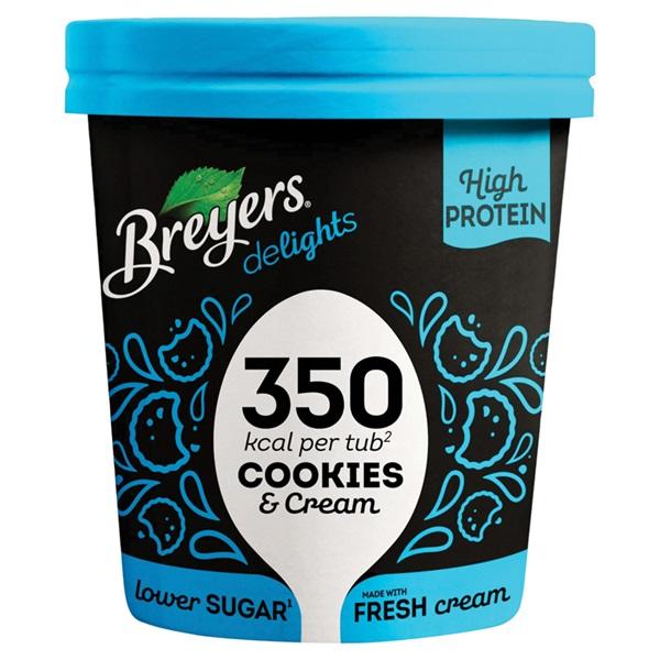 Breyers cookies & cream proteïne ijs voorkant