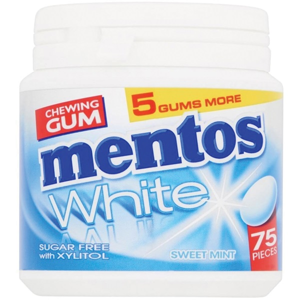 Mentos gum bottle white sweetmint  voorkant