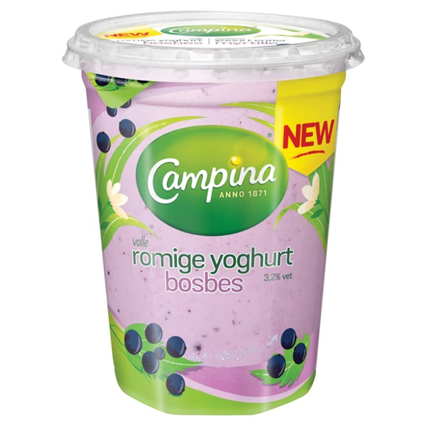 Campina romige yoghurt  bosbes voorkant