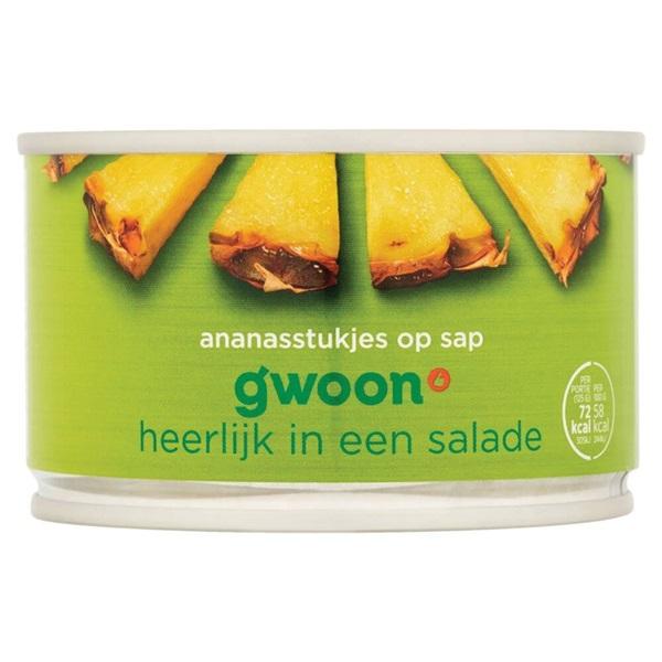Gwoon ananasstukjes op sap voorkant