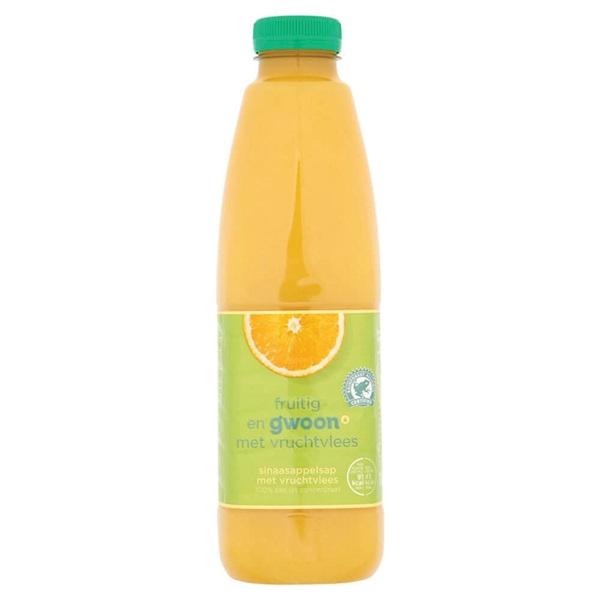 Gwoon sinaasappelsap met vruchtvlees g'woon met vruchtvlees voorkant