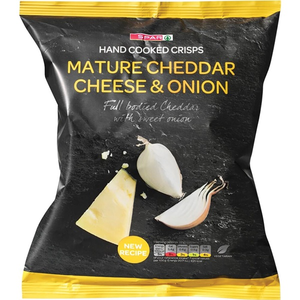 Spar hand cooked crisps chips cheddar & onion voorkant