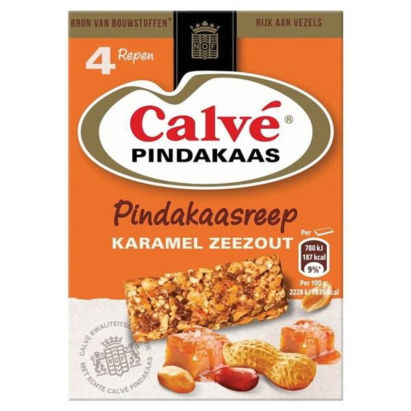 Calvé pindakaasreep karamel voorkant