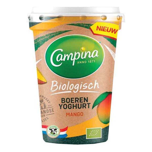 Campina bio yoghurt mango voorkant