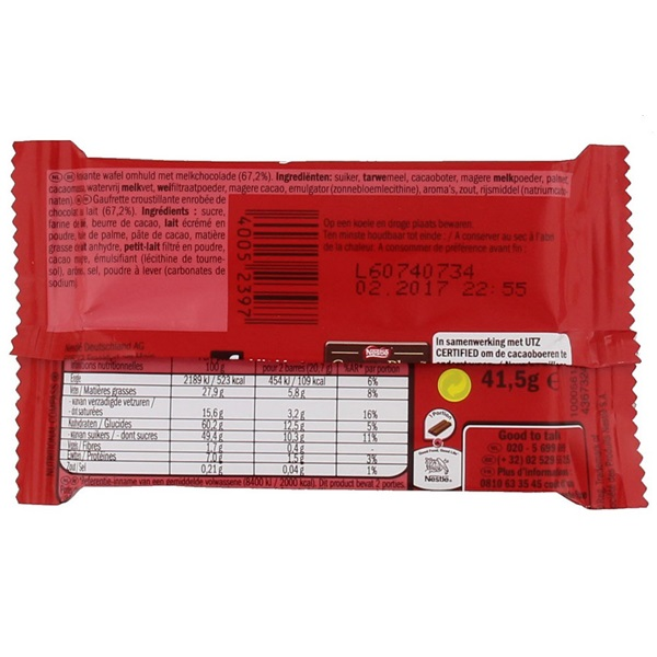 Kit Kat Chocolade Single 4 fingers achterkant