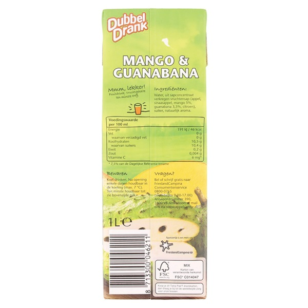 DubbelDrank Vruchtensap Mango Guanabana achterkant