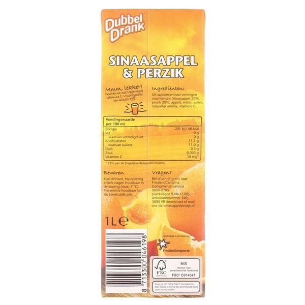 DubbelDrank Vruchtensap Sinaasappel Perzik achterkant