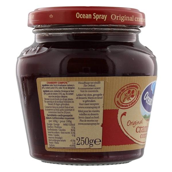 Ocean Spray Compote Cranberry achterkant