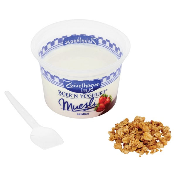 Zuivelhoeve Yoghurt Aardbei/Muesli achterkant