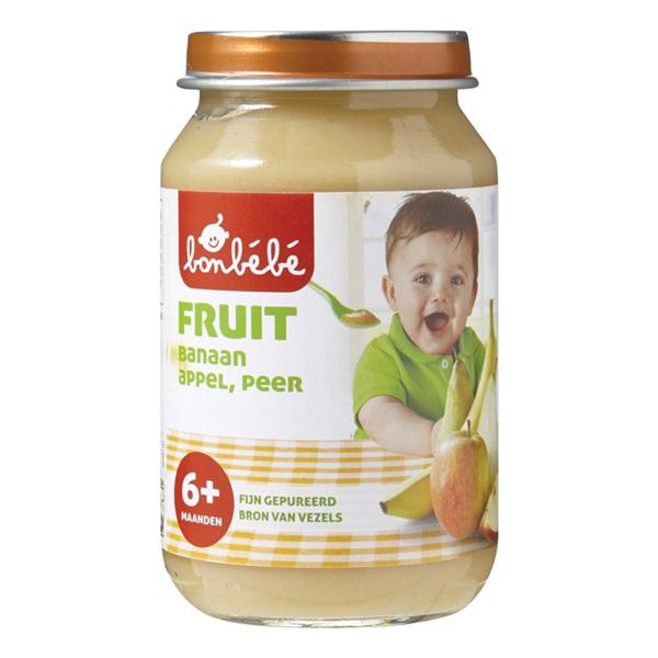 Bonbébé Baby/Peuter Fruithapje Banaan, Appel En Peer voorkant